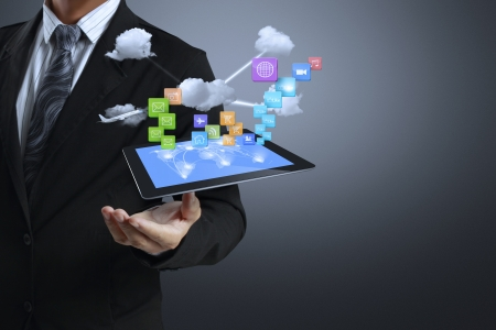 touch screen ,touch- tablet in hands  Stock Photo - 17186701