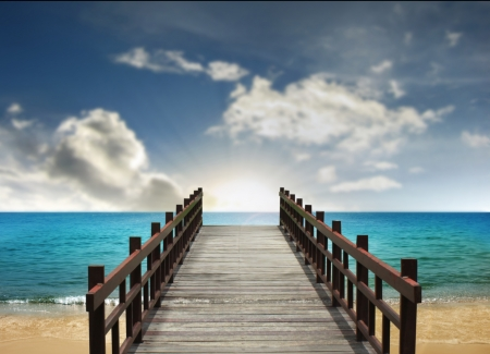 beach and a bridge Only Way Tropical Landscape  Stock Photo