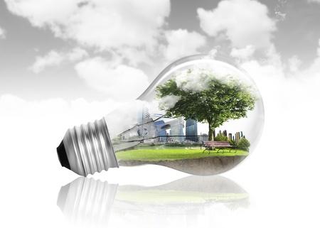 eco innovation: Idea ,light bulb Alternative energy concept