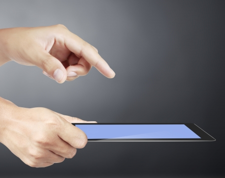 touch screen ,touch- tablet in hands Stock Photo - 17960089