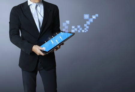 touch screen ,touch- tablet in hands Stock Photo - 17960069