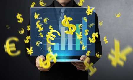 Businessmen, hand touch screen graph on a tablet Stock Photo - 18093248