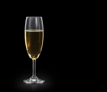 champagne glass: glass of champagne on Black background