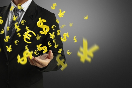 money exchange: Businessman with a money icon floating in the air  Stock Photo
