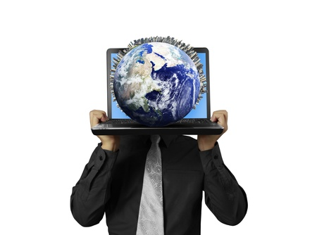 business man holding a laptop Stock Photo - 18839480