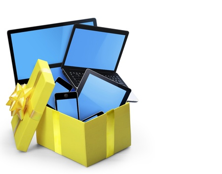 multi touch: The group of mobile tablet devices and the open gift box Stock Photo
