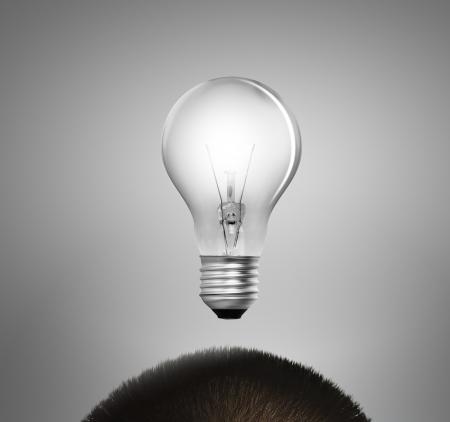 idea and concept: idea concept, lamp head businessman  Stock Photo