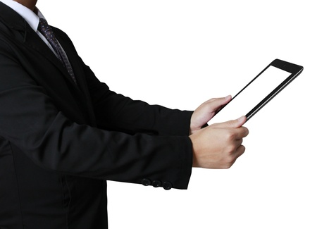 touch screen ,touch- tablet in hands Business man Stock Photo
