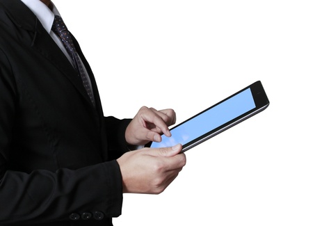 touch screen ,touch- tablet in hands Business man Stock Photo - 20232214