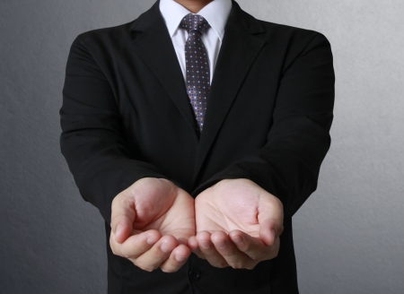 Open palm hand gesture of male hand  photo