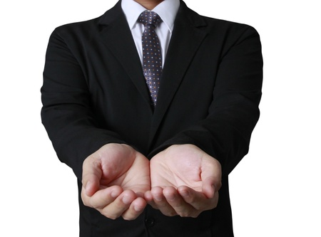 Open palm hand gesture of male hand  Stock Photo - 20232215