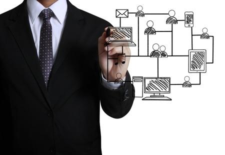 Business-Mann Zeichnung sozialen Netzwerk-Struktur Standard-Bild