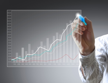 graph trend: Business man hand drawing a graph