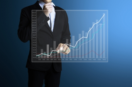 wealth management: businessman with financial symbols coming from hand