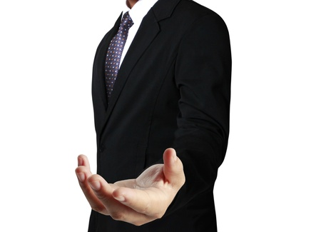 Open palm hand gesture of male hand Stock Photo - 21080389