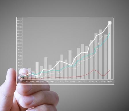 share market: Business man hand drawing a graph