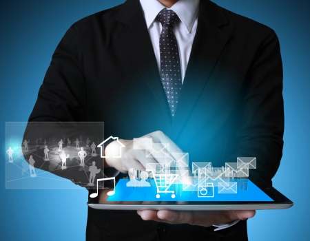web marketing: touch screen ,touch- tablet in hands businessmen