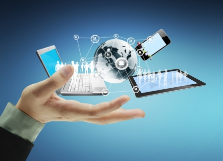 Technologie in den Händen von Unternehmern Standard-Bild