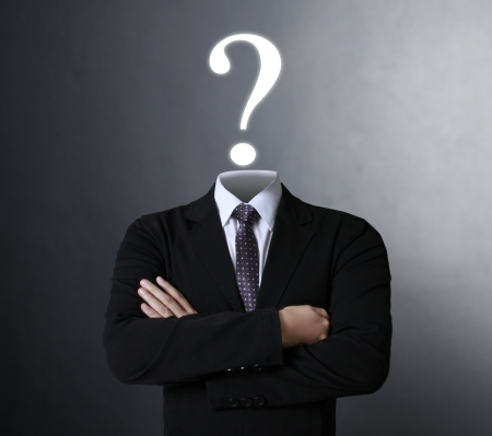 punto interrogativo: Blank umana simbolo testa con le parole Il punto interrogativo