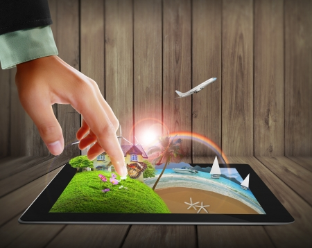 concept images: touch the tablet concept images streaming  Stock Photo