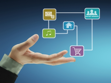 Business men hand holdingsocial network structure