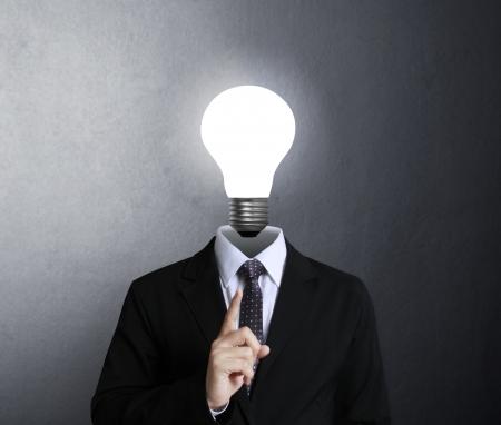 idea concept, lamp head businessman  Stock Photo