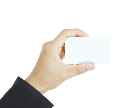 blanks: collection of card blanks in a hand businessman Stock Photo