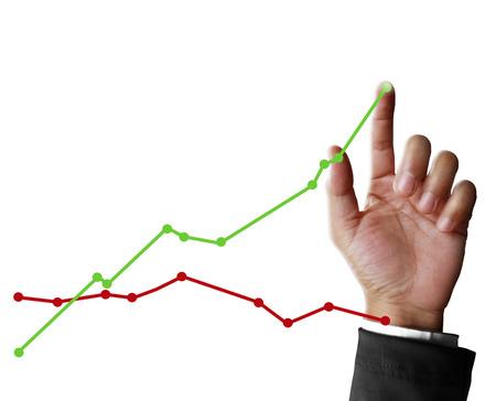Geschäftsmann mit finanziellen Symbole aus der Hand Standard-Bild - 23327133