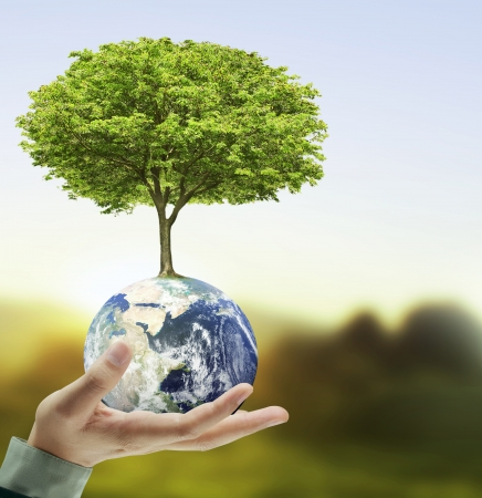 holding a glowing earth globe and tree in his hand  photo