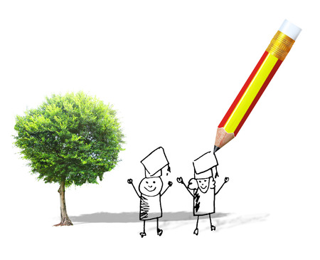 Green tree and pencil with back to school concept photo