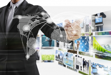 hdtv: Business man reaching images streaming from the deep