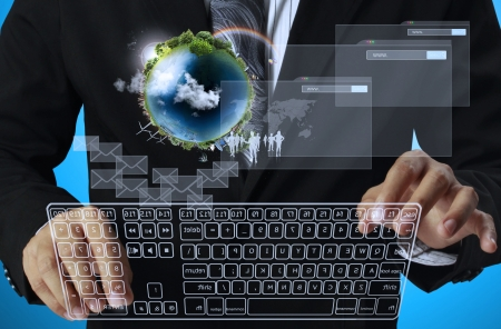 computer hardware: presses the keyboard touch screen interface Workplace businessman