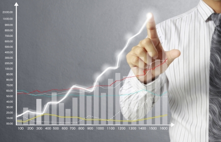 foreign exchange rates: businessman with financial symbols coming from hand