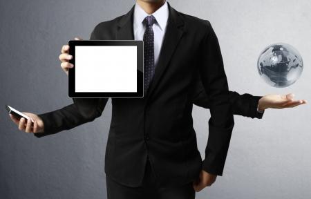 computer program: Technology in the hands of businessmen