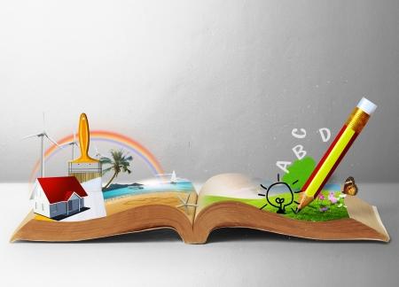 光るファンタジー本を読んで、幻想的な物語の本 写真素材