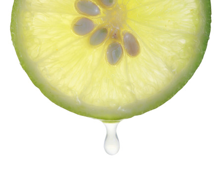lemon slices: juice falling of the succulent lemon