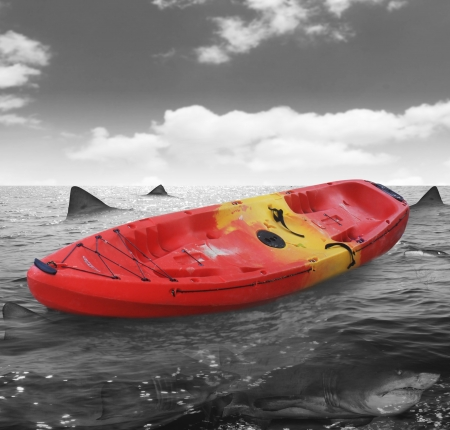 tail fin: boat with the sharks around  Stock Photo
