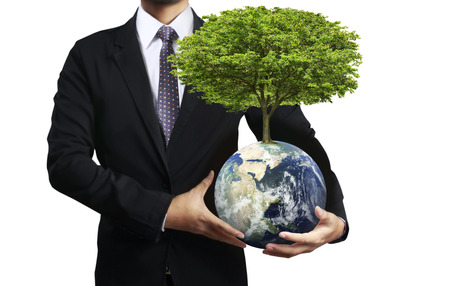 water ecosystem: holding a glowing earth (NASA) globe and tree in his hand. Extremely detailed image including elements furnished by NASA