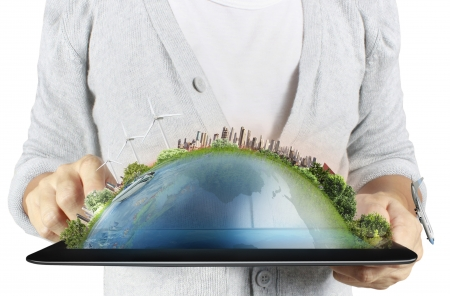 information point: touch screen ,touch- tablet in hands