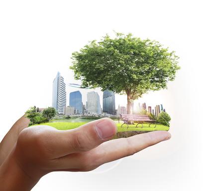 Menschlichen Hand, die die Stadt Standard-Bild - 25167568