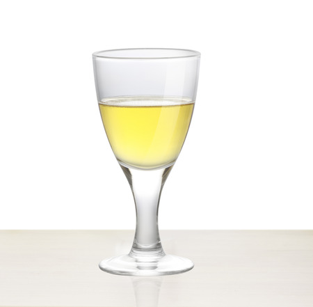 white wine on the wood photo