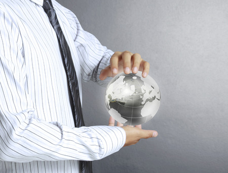 water ecosystem: holding a glowing earth globe in his hands