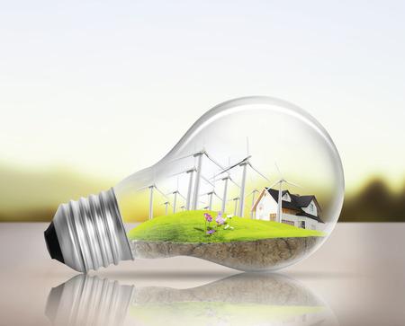 wind energy: Idea ,light bulb Alternative energy concept