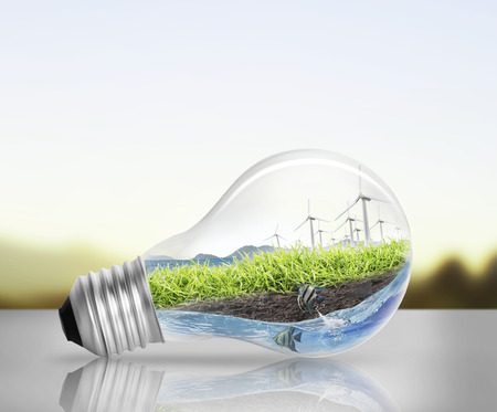 Idea ,light bulb Alternative energy concept
