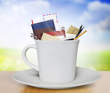 literary: Composition with books and cup of coffee  Stock Photo