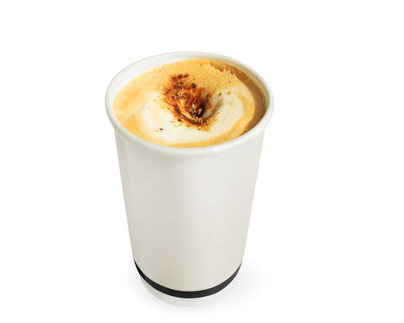 take away: paper coffee cup on a white background
