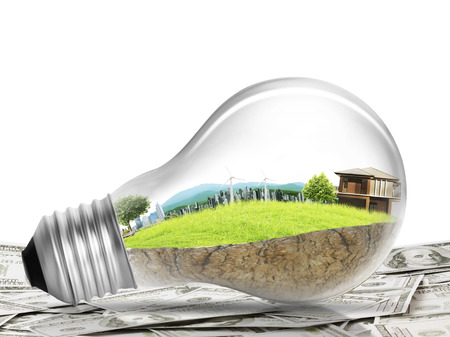 technological: Alternative energy concept in light bulb