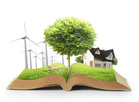 magic book: book with model of house, tree and wind turbines