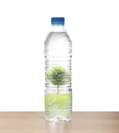 Tree in Polycarbonate plastic bottle of mineral recycling water bottle photo