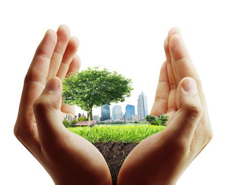 human hand holding the city Zdjęcie Seryjne - 28023643